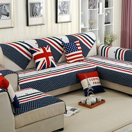 Super Soft Plush British Style Three color Strips Print Cotton Cushion Sofa Covers