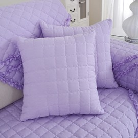 Purple Cotton Quilting Seam Plaid Pattern Decorative Sofa Throw Pillow