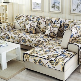 Special Design Beautiful Flowers Print Cushion Slip Resistant Four Seasons 1 Piece Sofa Cover