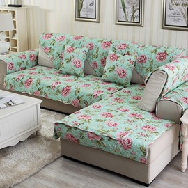Warm Green with Pink Flower Print Four Seasons Slip Resistant Decorative Sofa Cover