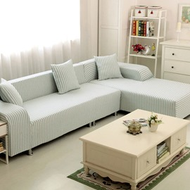 Popular Simple Style Blue and White Stripe Pattern Washable Sofa Cover
