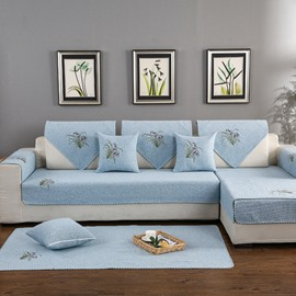 Country Style Anti-Slip All Seasons Embroidery Soft Living Room Sofa Covers