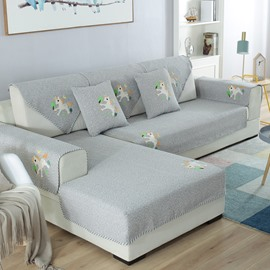 Simple Style Water Resistant All Seasons Soft Prevent Stains Sofa Covers