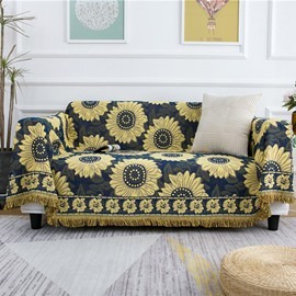 Sunflower Pattern Boho Sofa Couch Throw Blanket Slipcover Bed Recliner Chair Throws Sofa Cover Colorful Chenille Woven Bohemian Decor Large/Oversized