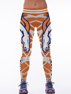 Horse and Grid Printed Yellow Female 3D Leggings