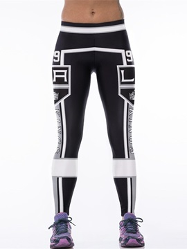 Sporty Style Letter Printed Black Women's 3D Leggings