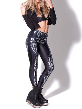 3D Women Leggings Halloween Skeleton Pattern Yoga Pants Polyester