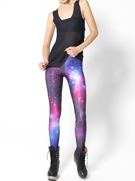 3D Gorgeous Women Leggings Red Galaxy Pattern Yoga Pants Polyester