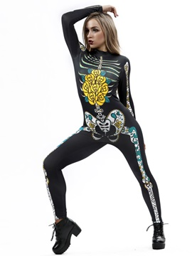 Skinny Model Halloween Costume 3D Style Stretch Catsuit Jumpsuit