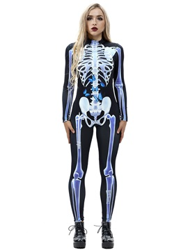 3D Style Stretch Cosplay Costume Skeleton Print Bodycon Jumpsuit