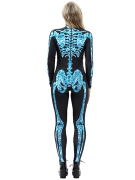 Halloween Costume Skeleton Print Stretch Skinny Model Jumpsuit