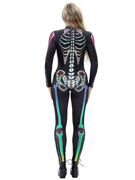 Skinny Model Skeleton Print Stretch Halloween Cosplay Costume Jumpsuit