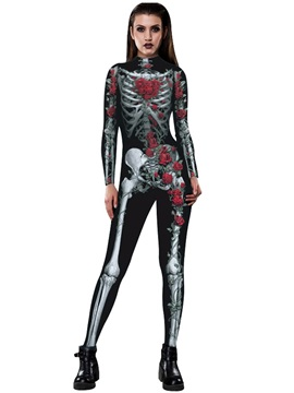 Stretch Skeleton Print 3D Style Cosplay Costume Catsuit Jumpsuit