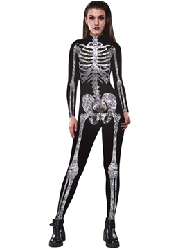 3D Style Skinny Model Skeleton Print Cosplay Theme Party Jumpsuit