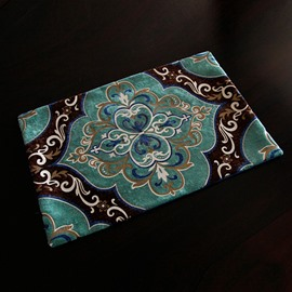 European Style Fabric Flower Print Rectangle Washable Stain Resistant Table Placemat