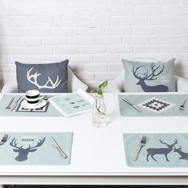 Simple Style Amusing Deer Pattern Heat Resistant 4 Pieces Washable Table Placemats