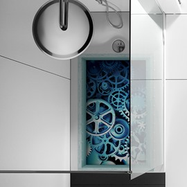 Wheels and Gears Slipping-Preventing Water-Proof Bathroom 3D Floor Sticker