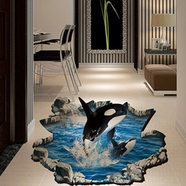 Jumping Dolphin and Blue Sea 3D PVC Wall/Floor Sticker