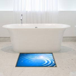 Blue Water Wave Pattern Slipping-Preventing Water-Proof Bathroom 3D Floor Sticker