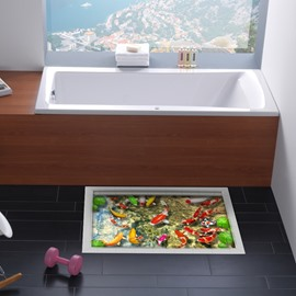 Decorative Goldfish Pattern Slipping-Preventing Water-Proof Bathroom 3D Floor Sticker