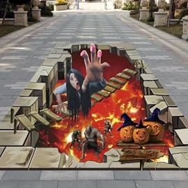 3D Halloween Witch Ghosts Pumpkin Pattern PVC Waterproof Nonslip Floor Art