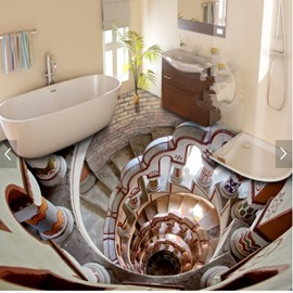 Modern Creative Design Spiral Stair Pattern 3D Waterproof Floor Murals