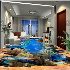 Creative Modern Design Dolphins and Turtles Pattern Waterproof 3D Floor Murals