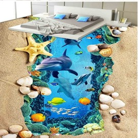 Wonderful Dolphin in the Sea and Beach Scenery Wallpaper Waterproof 3D Floor Murals