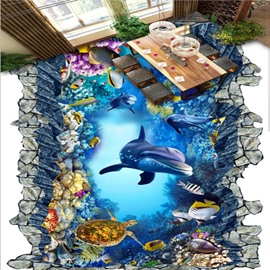 Amusing Dolphins and Turtles in Broken Hole Home Decorative Waterproof 3D Floor Murals