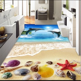 Two Lovely Dolphins Playing Seashell Pattern Home Decorative Waterproof 3D Floor Murals