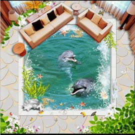 Two Happy Dolphins Playing in the Sea Home Decorative Splicing Waterproof 3D Floor Murals