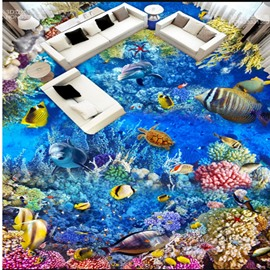 Fresh Dolphins and Fishes Sea Scenery Pattern Splicing Waterproof 3D Floor Murals