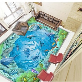Amusing a School of Dolphins Playing in the Sea Pattern Splicing Waterproof 3D Floor Murals