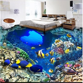 Modern Fashion Design Blue Sea and Fishes Pattern Wearproof Decorative 3D Floor Murals