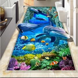Unique Design Vivid Dolphin and Fish Sea Scenery Waterproof Custom Size 3D Floor Murals