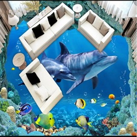 Delicate Dolphin and Fish Sea Scenery Decorative Waterproof 3D Floor Murals