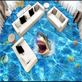 Vivid Shark in the Sea Pattern Waterproof Splicing Waterproof 3D Floor Murals