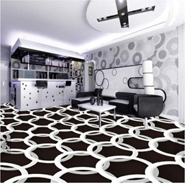White Round Rings on Black Background Decorative Waterproof 3D Floor Murals