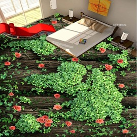 Natural Country Style Flowers Pattern Home Decorative Waterproof Splicing 3D Floor Murals