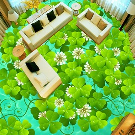 Fancy Design Green Clovers Pattern Antiskid and Waterproof Splicing 3D Floor Murals
