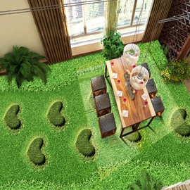 Warm Decorative Grass Land with Heart Shape Design Waterproof Splicing 3D Floor Murals