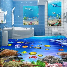 3D Fishes in Sea Pattern PVC Waterproof Non-slip Sturdy Self-Adhesive Floor Murals