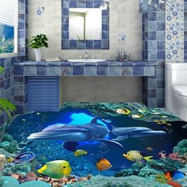 3D Blue Sea Dolphins Pattern PVC Waterproof Non-slip Eco-friendly Self-Adhesive Floor Murals