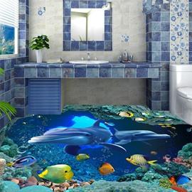 Simple Style Blue Dolphins Pattern Bathroom Decoration Waterproof 3D Floor Murals