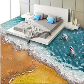 Two Lovely Dolphins Dancing in the Sea Pattern Decorative Splicing 3D Floor Murals