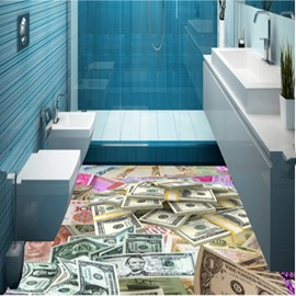 Creative Different Kinds of Money Pattern Design Decorative Waterproof 3D Floor Murals