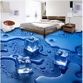Blue Decorative Melting Ice Cube Pattern Antiskid and Waterproof 3D Floor Murals