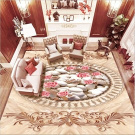 Elegant Pink Flower and White Pebbles Pattern Home Decorative Waterproof 3D Floor Murals