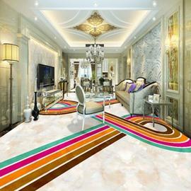 Stunning Modern Design Colorful Strips Pattern Waterproof Splicing 3D Floor Murals