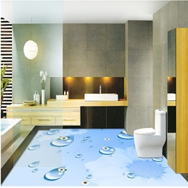 Blue Realistic Water Drops and Flowers Pattern Decorative Splicing 3D Floor Murals